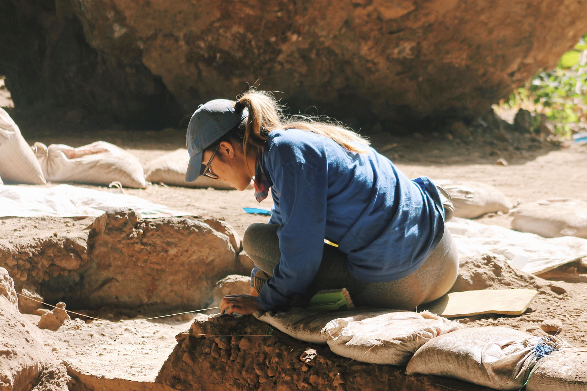 Archaeologist digging for artifacts