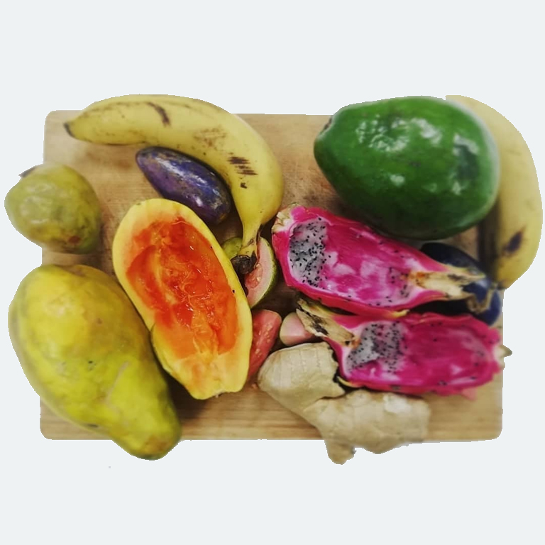 Fruit on a wooden cutting board