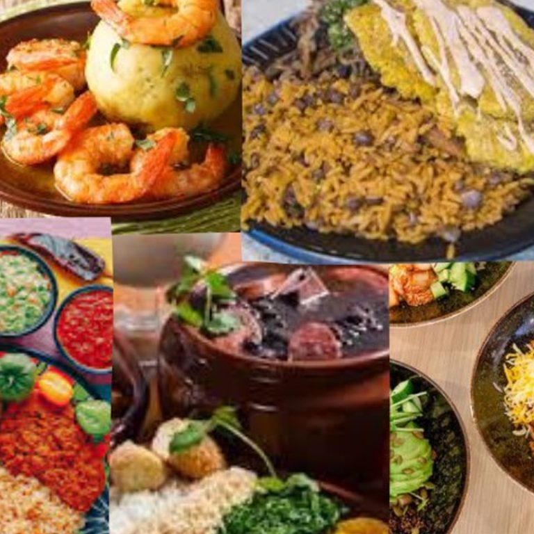 Collage of different latin foods