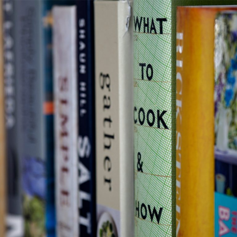 Cooking books on a shelf